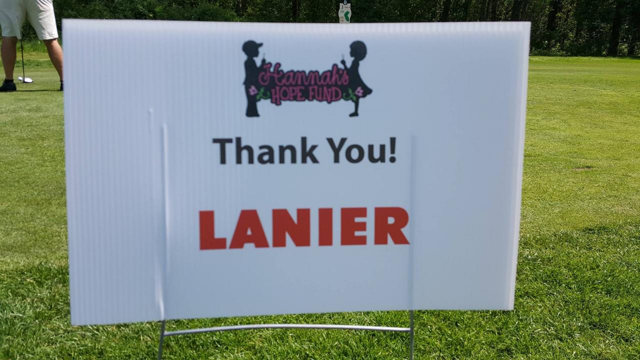 Hanna's Hope Golf Event Sign