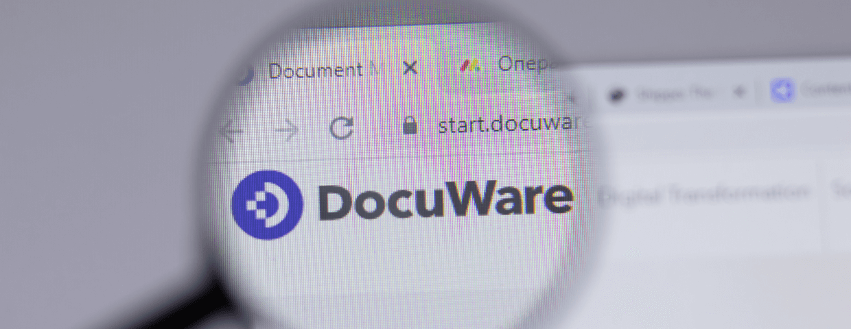 Magnifying glass hovering over DocuWare website.